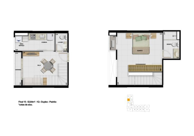 The Expression : Final 15 52,64m² 1Q Duplex Padrão